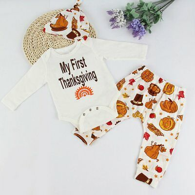 Newborn Infant Baby Girls Boys Warm Romper Tops +Long Pants Hat 3pcs Outfits Set