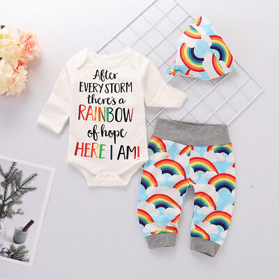 3pcs Newborn Baby Girl Boy Rainbow Romper Bodysuit+Pants Hat Outfits Clothes Set