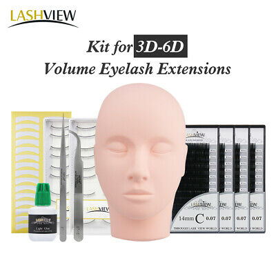 Lashview 3D 6D Russian Volume Eyelash Extensions Practice Kit Mannequin Head