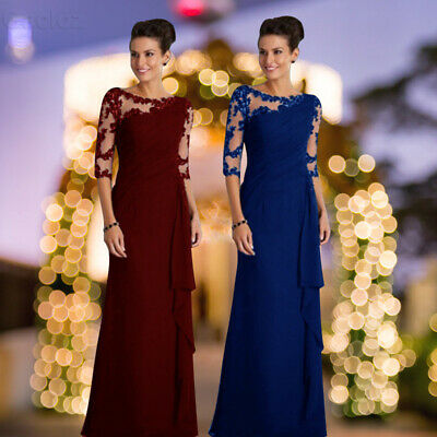 Womens Long Lace Ball Gown Evening Formal Prom Dress Maxi Cocktail Party Dresses