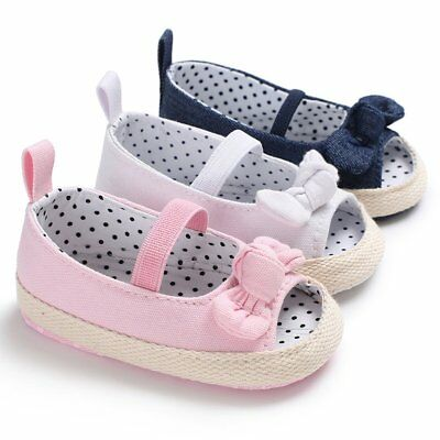 Newborn Kids Baby Girl Summer Soft Sole Crib Prewalker Toddler Anti-Slip Shoes