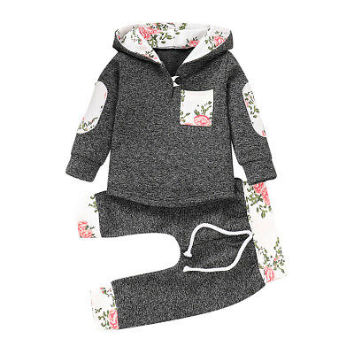 2PCS Newborn Toddler Baby Boy Girl Hooded Sweater Tops+Pants Outfits Clothes Set
