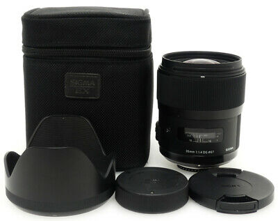 Sigma 35mm F1.4 DG HSM Art Lens. Hood. Case For Nikon