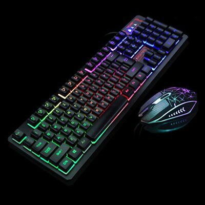 Lot Color LED Illuminated Backlit USB Wired Rainbow Gaming Keyboard Mouse Set rr