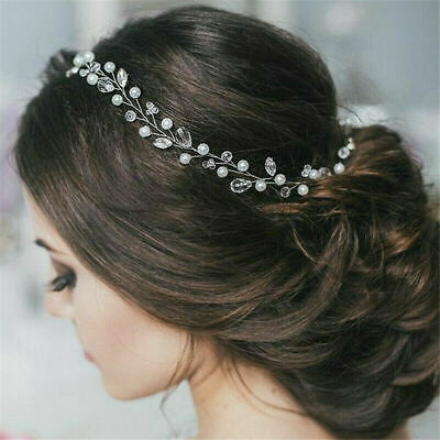 Faux Crystal Wedding Bridal hair Accessories Clip Tiara Headband Silver Garland