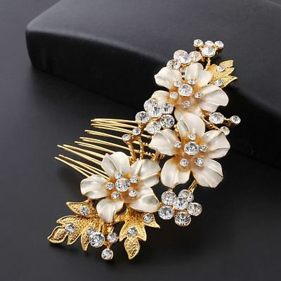 Wedding hair Accessories Crystal Gold Hair Comb Flower Clip Pin Bridal Bride