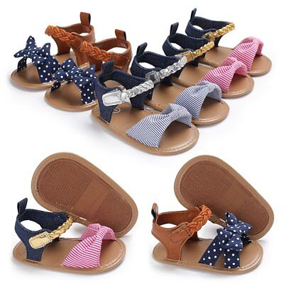 4e3d8ee3177 Newborn Infant Baby Girl Soft Sole Sandals Toddler Summer Shoes Bowknot  Sandals