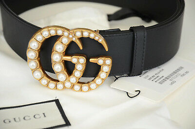 62ff92a4370 GUCCI BELT PEARL Gold GG Buckle Marmont Leather Black sz 75   30 fit ...