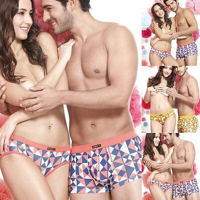 Lovers Cotton Underwear Men's Boxer Shorts Womens Briefs Knickers Couple Clothes