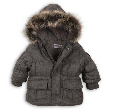 Minoti / Babaluna Baby Boys & Girls Padded Jacket With Faux Fur Trim Hood