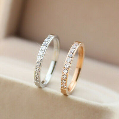 Stainless Steel Half Eternity Band Pave Setting CZ Wedding Ring for Women Girl