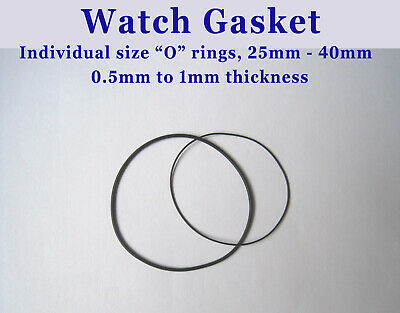"Watch Gasket, ""O"" Ring Gasket by size, watch back seal, Ø19 - 40mm"