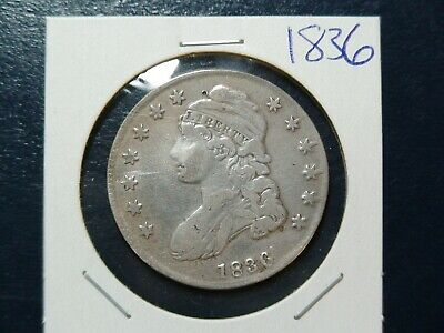 1836 CAPPED BUST HALF SILVER 50C Coin Auction Starts At 99 Cents!