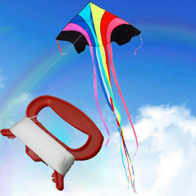 Wo_ 100M Outdoor Flying Kite Line String With D Shape Winder Board Tool Kit Clas