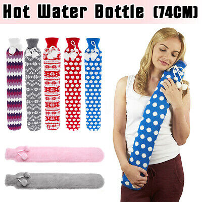 Extra Long Pain Relief PVC Waist Hot Water Bottles With Flannel Removable Cover