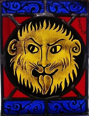 Tiny Lion - Copy a fragment of a Stained Glass window 21 X 16 cm with chain
