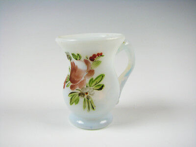 Antique Miniature Fiery Opalescent Free Blown Pitcher or Mug Enamel Decoration