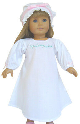 "Embroidered Night Shift Gown & Mob Cap made for 18"" American Girl Doll Elizabeth"