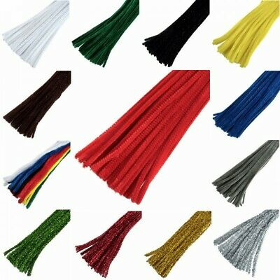"Chenille Craft Stems Pipe Cleaners 30cm 12"" Long 6mm Wide"