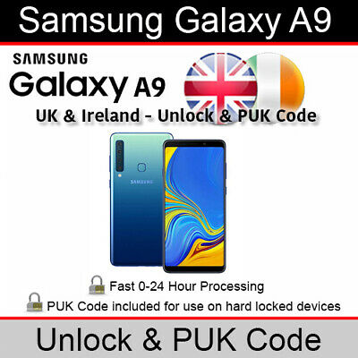 Samsung Galaxy A9 Unlock & PUK Code (All UK & Ireland Networks Supported)