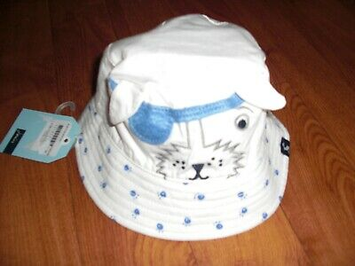 Bnwt Baby Boys Joules Tod Cream & Blue Dog Sun Hat Age 0-6,6-12 Months. £14.95