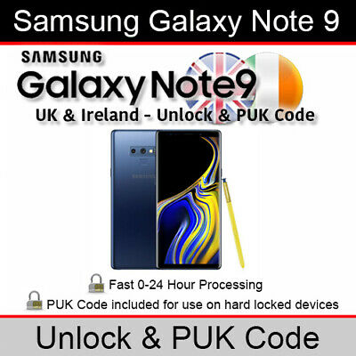 Samsung Galaxy Note 9 Unlock & PUK Code (All UK & Ireland Networks Supported)