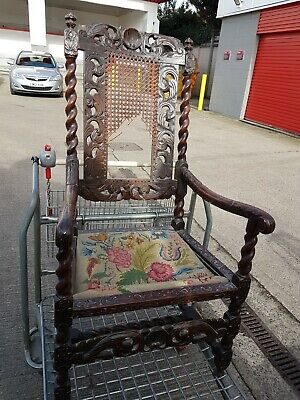 carved oak original  jacobean   ARM CHAIR with jacobean embroidered seat pad