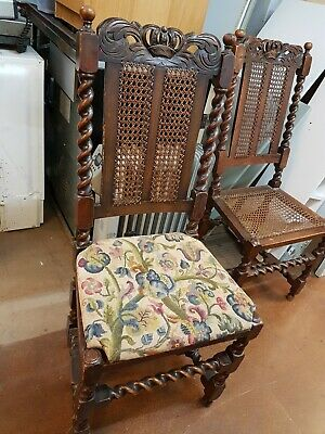 2 Original Jacobean Dining chairs in oak with jacobean embroidered seat pads,
