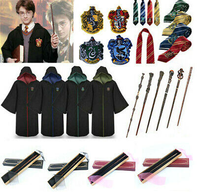 Harry Potter Cosplay Adult Kids Robe Cloak Costume Cape Tie Scarf Wand Uniform