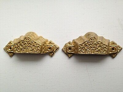 Pair Vintage VICTORIAN EASTLAKE Brass ORNATE DRAWER BIN PULLS Cup Handle (2)