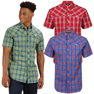 Regatta Mens Honshu IV Short Sleeve Plaid Zip Pocket Shirt