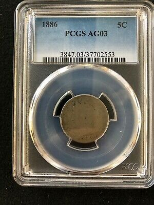 1886 5C Liberty Head Nickel V Nickel PCGS AG03