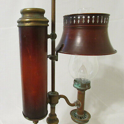 Converted Antique Kerosene Student Lamp Brass Adjustable Painted Metal Shade