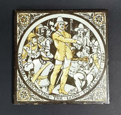 Victorian JOHN MOYR SMITH ARTS & CRAFTS MOVEMENT TILE c1890 OLIVER CROMWELL