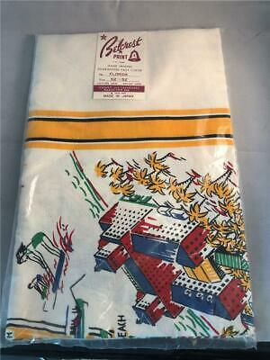 """Vintage Old Store Stock Belcrest Cloth Tablecloth 52"""" x 52"""" Florida Pattern NOS"""