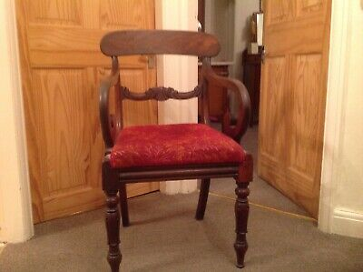 Regency armchair mahogany with decorative back and scrolled arms