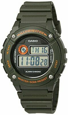Casio Men's 'Illuminator' Quartz Resin Watch, Color:Green (Model: W-216H-3BVCF)