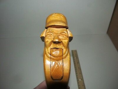 Rare Vintage Black Forest Carved Old Man Hat Wood Nutcracker