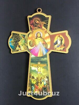 1PC Catholic Wood Cross Crucifix Wall 8'' Hanging Sacred Heart Jesus Mary Angel