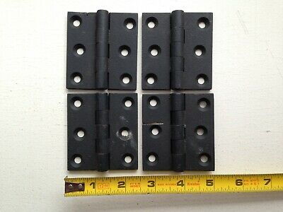 "4 cupboard BUTT HINGES 2 3/4"" X 2 1/2"" vintage cast iron 5 knuckle fixed pin"
