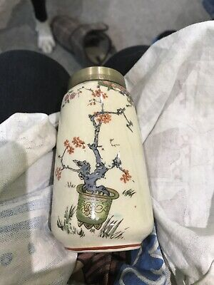 antique art nouveau Vase With EPNS Collar
