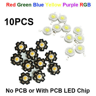 10pcs DIY SMD LED COB Chip watts High Power White Red Blue Yellow 3W Light Beads
