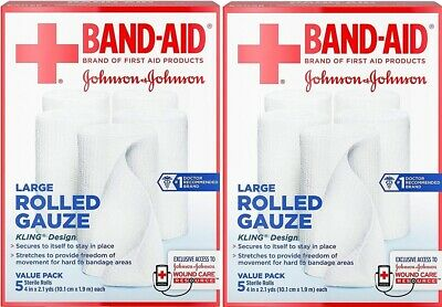 2 Pack Band-Aid Brand Of First Aid Products Rolled Gauze, 4 Inches By 2.1 Yards