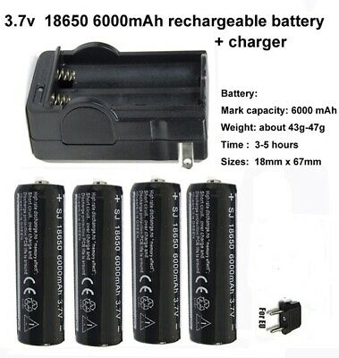 x4 BATERIA LION RECARGABLE LI-ON PILA 18650 6000mha 3,7V MAS CARGADOR DOBLE