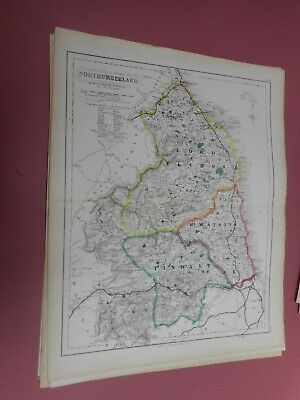 100% Original Northumberland Fox Hunting Map By Hobson C1860/s Vgc Coloured