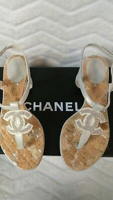 0be71531127 NIB AUTHENTIC CHANEL 12C Silver leather thong sandals with CC Logo size 6B  US