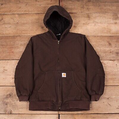 Boys Vintage Carhartt Brown Hooded Quilt Lined Workwear Chore Large 14-16 R11794