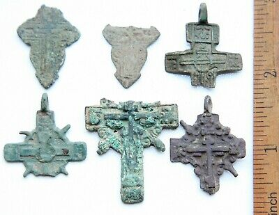 Group Of Ancient Bronze Crosses Fragments (FEB02)