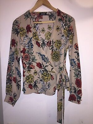 9738d1dda7f GIRLS ON FILM Beige FLORAL PRINT WRAP TOP Long Sleeve BLOUSE Top UK 8 EUR 36