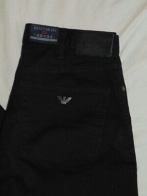 e50eef48 NEW Mens Armani Jeans J31 Regular Fit 32 x 34 Comfort Fabric Denim Black  Pants